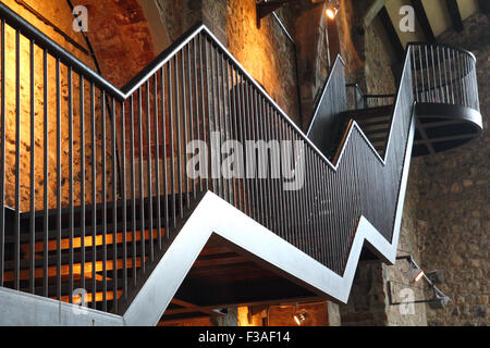 Metallic staircase going up - Stock Photo