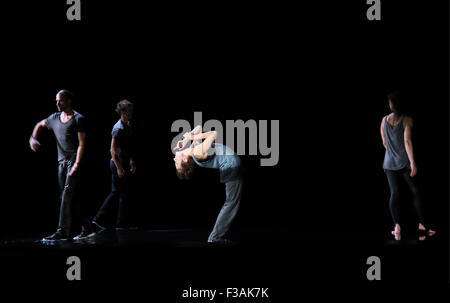 MOSCOW, RUSSIA. OCTOBER 2, 2015. Actors perform in a scene from the Sfumato production as part of the 10th Inetrnational - Stock Photo