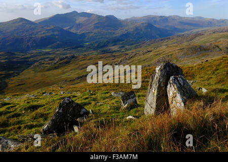 The Snowdon massif seen from Cnicht to the south - Stock Photo