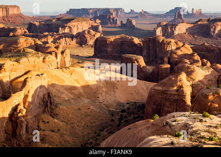 Hunt's Mesa, view of the Monument Valley from the remote plateau at sunrise. USA - Stock Photo