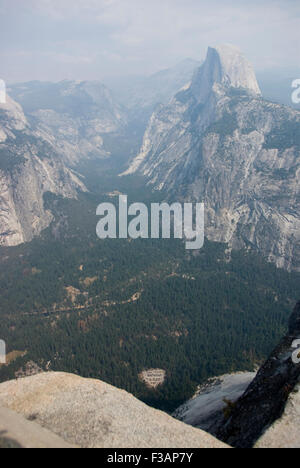 View from Glacier Point over Yosemite valley at Yosemite National Park, California - Stock Photo