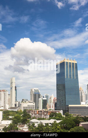 Bangkok modern skyline around the Sathorn/Silom business district, which contains a lots of luxury hotels and office - Stock Photo