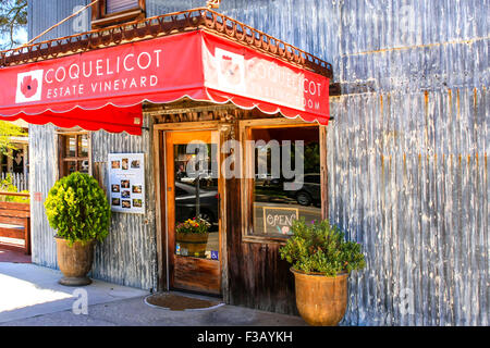 Coquelicot Estate Vineyards overhead canopy sign outside their wine tasting store in Los Olivos in California - Stock Photo