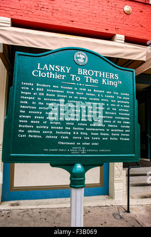 Historic sign telling the history of the Lanksy Brothers, tailor to 'The King' in Memphis Tennessee - Stock Photo