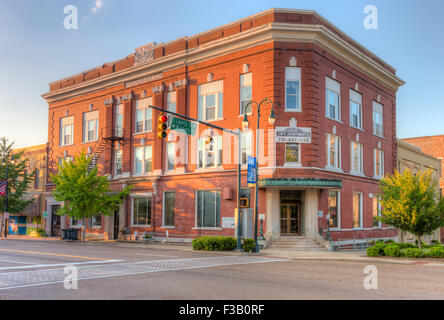 An early morning view of the historic Pythian Building, built as Pythian Castle by Lancelot Lodge, in Jackson, Tennessee. - Stock Photo