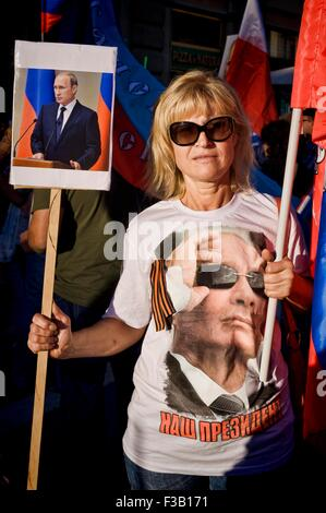 Rome, Italy. October 3rd, 2015.   Rally in support of Russian President Putin, Piazzale Flaminio, 'I'm with Putin', - Stock Photo