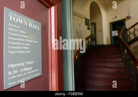 AUCKLAND - SEP 02 2015:Auckland city council town hall.It's an historic building known for its ongoing use for administrative - Stock Photo