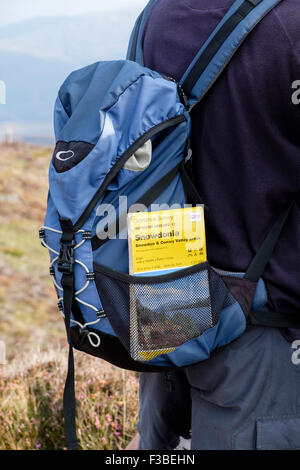 Hiker hiking in mountains of Snowdonia National Park with Ordnance Survey map in a rucksack pocket. North Wales, - Stock Photo