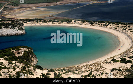 Voidokilia Beach in the Messinia area of the Greek Peloponnese, recognisable by its 'Omega' shape, seen from near - Stock Photo