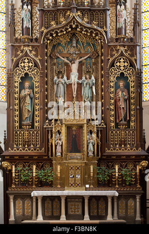 Main altar of the Church of the Presentation of the Blessed Virgin Mary of the Dominican Monastery in Ceske Budejovice, - Stock Photo