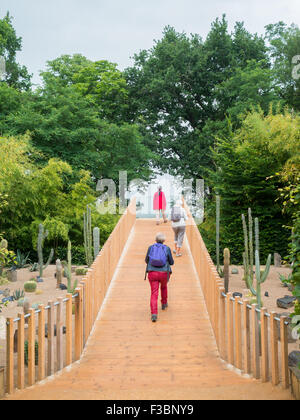 People walking in the Cactus garden of the 2015 International Garden Festival 2015 at the Domain of Chaumont-sur-Loire