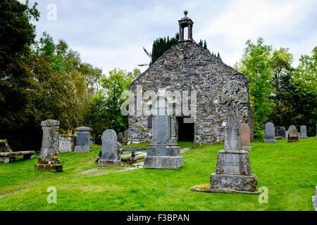 Old gravestones in Balquhidder Kirk Graveyard in the Trossachs, Scotland