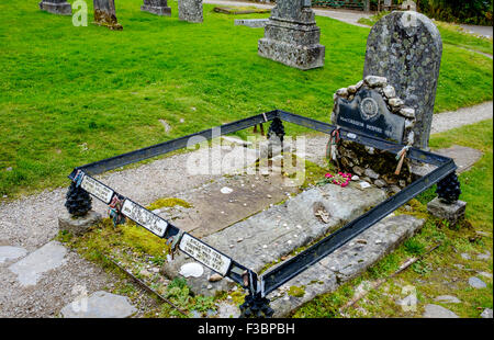 Tomb of Rob Roy McGregor, his wife and son in Balquhidder Kirk Graveyard in the Trossachs, Scotland
