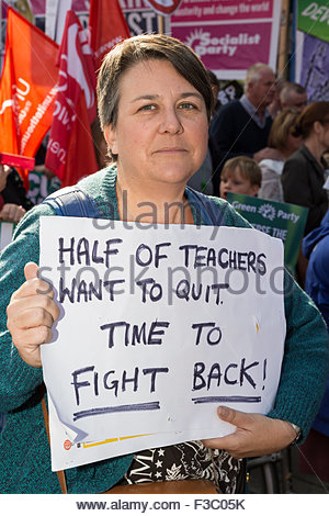 Manchester, UK. 4th October, 2015. Anti austerity rally in Manchester, UK. Bridget Chapman, 44, Teacher from Throuxton, - Stock Photo