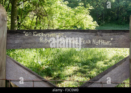 A quote carved into a wooden fence along the Appalachian Trail - Stock Photo