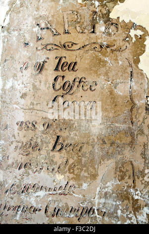 A vintage style menu painted on wall of coffee shop in Cirencester, UK - Stock Photo