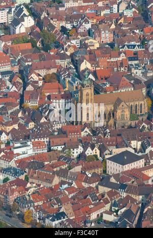 Aerial view of colmar town alsace france stock photo for Blue piscine colmar