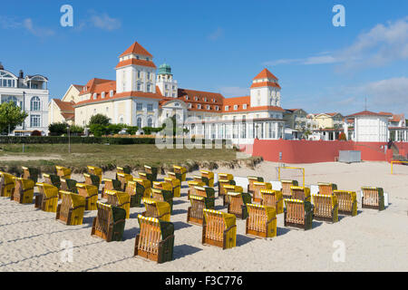 View of traditional Strandkorb seats on beach at Binz seaside resort on Rugen Island in Germany - Stock Photo
