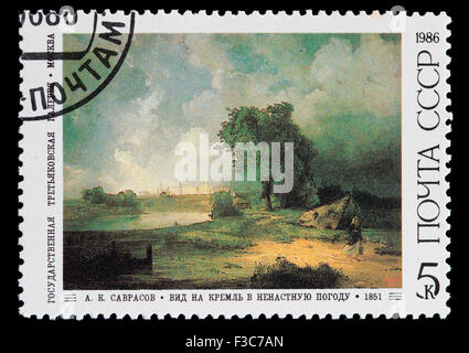 SOVIET UNION - CIRCA 1986: A postage stamp printed in Soviet Union shows a work of A. Savrasov: View of the Kremlin - Stock Photo