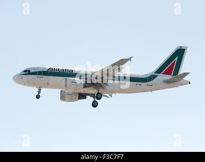 Alitalia Airbus A319-112. Photographed at Linate airport, Milan, Italy - Stock Photo