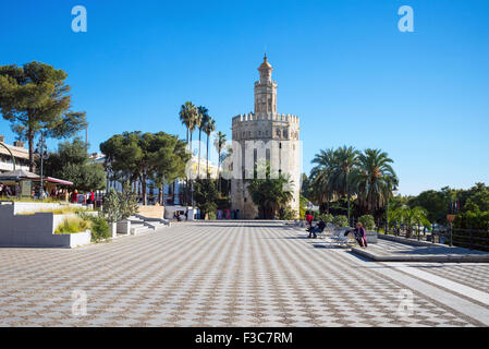 Spain, Andalusia, Seville, the Torre del Oro (Gold Tower) - Stock Photo