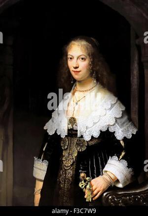 Portrait Maria Trip1639  Rembrandt Harmensz. van Rijn   Dutch Netherlands (  (July 15, 1606 or 1607– October 4, - Stock Photo