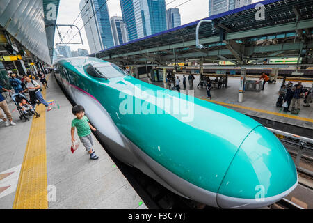 Hayabusa E5 Shinkansen bullet train of East Japan Railways at Tokyo Station Japan - Stock Photo