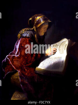 An Old Woman Reading, Probably the Prophetess Hannah 1731 Netherlands Rembrandt Harmenszoon van Rijn Dutch 1606–1669 - Stock Photo