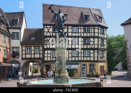 Schwendl fountain and statue of Lazare Schwendl Place de L'Ancienne Douane Colmar Alsace France - Stock Photo