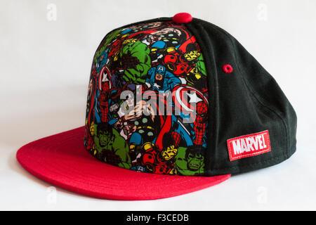 Detail on Marvel Comics baseball cap isolated on white background - Stock Photo