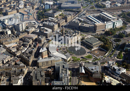 aerial view of Bradford city centre, town hall, Mirror Pool & City Park. West Yorkshire UK - Stock Photo