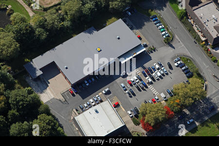 aerial view of a Lidl supermarket in Stockport, UK - Stock Photo
