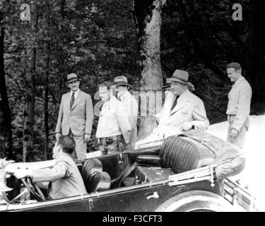NAZI HEIRACHY on a walk near Hitler's Berghof home in Bavaria about 1938.From left: Hermann Esser, Rudolf Hess, - Stock Photo