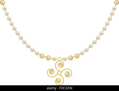 Pearl Gold Jewellery Necklace Vector Art - Stock Photo