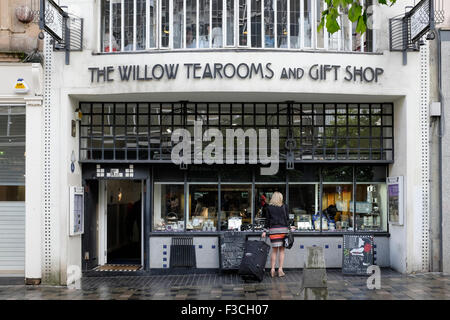 Exterior of famous Willow Tearooms (prior to name change after refurb) designed by Charles Rennie Macintosh on Sauchiehall - Stock Photo