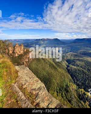 majestic Three Sisters rocky formation in a heart of Blue Mountains national park of Australia as seen from Echo - Stock Photo