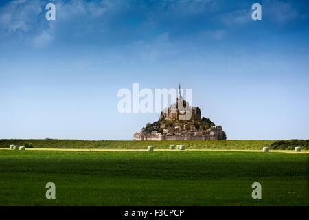 Le Mont-Saint-Michel Saint Michael Mount Benedictine abbey Lower Normandy Manche France Europe - Stock Photo
