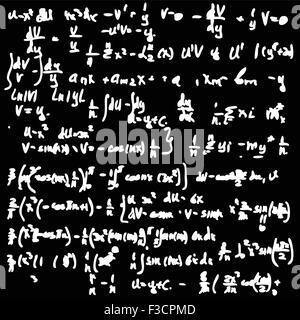 Blackboard with a math calculation. Seamless vector wallpaper.