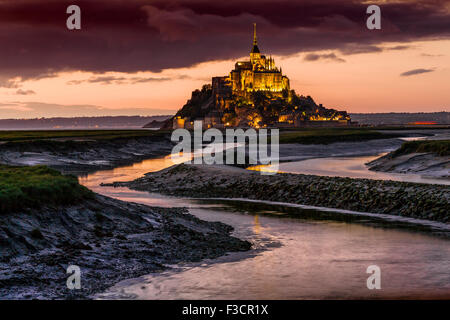 Couesnon river Le Mont-Saint-Michel Saint Michael Mount Benedictine abbey Lower Normandy Manche France Europe - Stock Photo