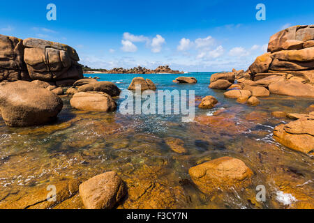 Giant rocks at the Cote granit rose pink granite coast Ploumanac´h Perros Guirec French Brittany France Europe - Stock Photo