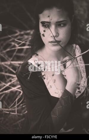 Beautiful medieval woman - Stock Photo