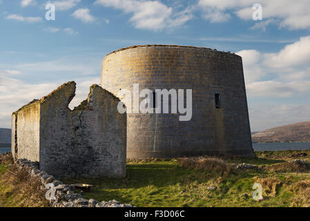 The Martello tower at Finavarra Point, the Burren, County Clare - Stock Photo