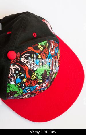 Detail on Marvel Comics baseball cap - Stock Photo