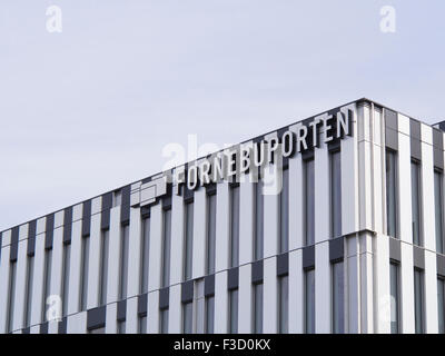 Fornebuporten, new commercial building complex at Fornebu west of Oslo Norway, architectural detail and logo - Stock Photo