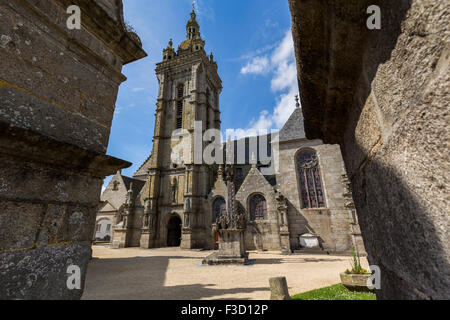 The Calvary parish church Notre-Dame Saint-Thegonnec Way of St James Finistere French Brittany France Europe - Stock Photo