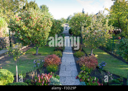 German Allotments or Community gardens - Stock Photo
