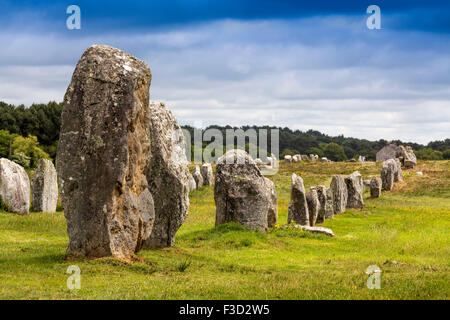 Alignements Menec megalithic Standing Stones Neolithic Carnac Morbihan French Brittany France Europe - Stock Photo