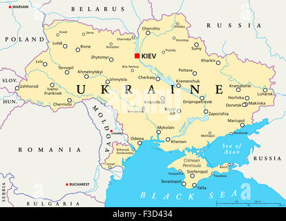 Ukraine political map with capital Kiev national borders Crimean