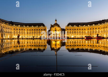 Miroir d Eau Place de La Bourse reflecting water miror at dusk Bordeaux Gironde Aquitaine France Europe - Stock Photo
