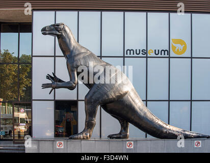 Dinosaur at the entrance of the Royal Belgian Institute of Natural Sciences / Museum of Natural History, Brussels, - Stock Photo